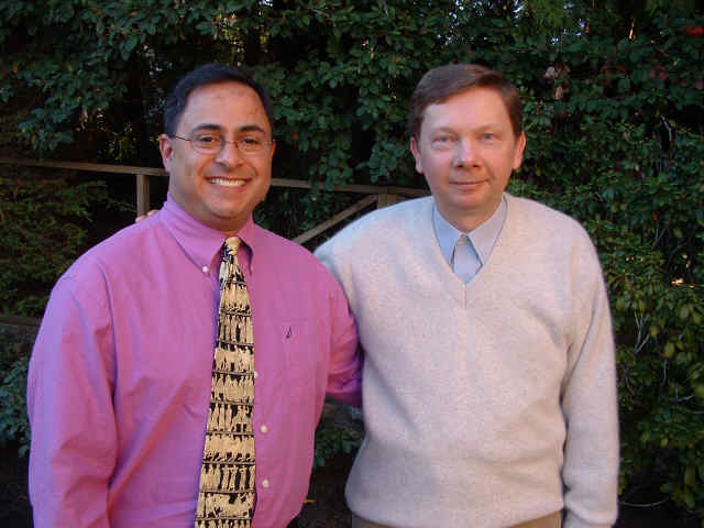 Ray Hemachandra and Eckhart Tolle in Vancouver, British Columbia