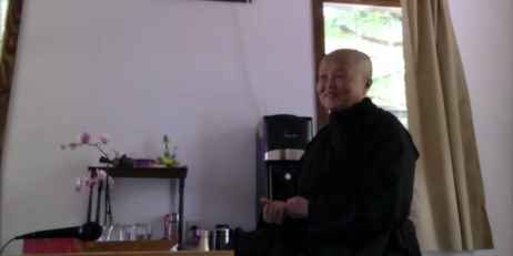 Sister Chan Khong during our interview at her residence at Magnolia Grove