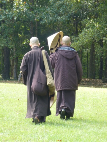 Thich Nhat Hanh (right) at Magnolia Grove, late September 2013