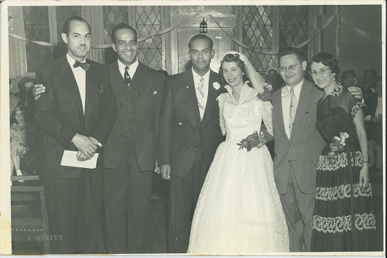 My parents, center, Neal Hemachandra and Rita Warmbrand, marry, flanked on the left by Judge Hubert Delany and Hubert Dilworth (my Uncle Bill)) and on the right by my Aunt Hattie (Rita's sister) and Uncle John Harvey, Hattie's husband.