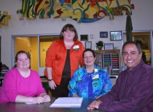 Leah Stroupe, Kate Glance, Roxann Colwell, and Ray Hemachandra at Family Support Network of Western North Carolina, which is part of Mission Children's Hospital in Asheville, N.C.