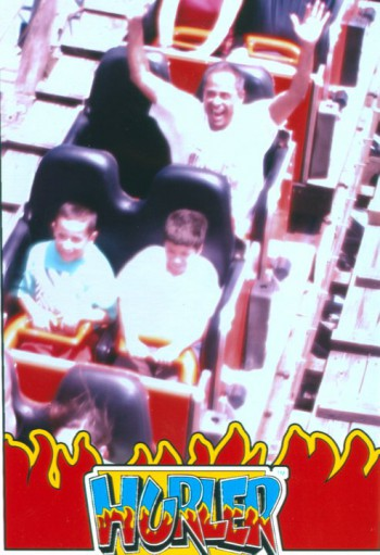 At Carowinds on the Hurler having a grand time — an inexplicably grand time, but enormous fun nonetheless.