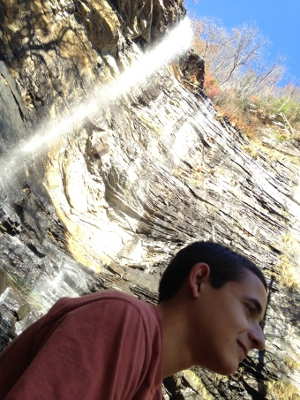 Nicholas Hemachandra at the base of Rainbow Falls, South Carolina, yesterday.