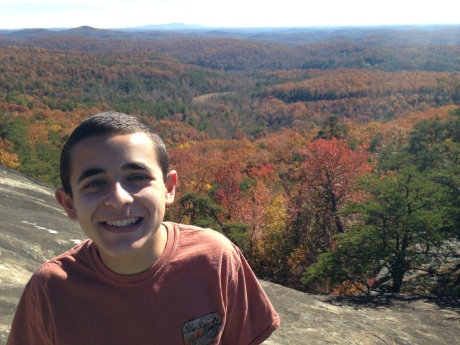 My son at the Caesars Head Bald Rock, S.C., overlook yesterday afternoon.