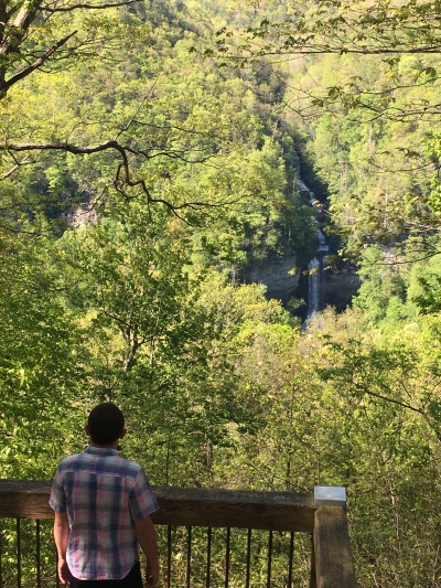 Nicholas Hemachandra overlooking Raven Cliff Falls, South Carolina, in May 2020